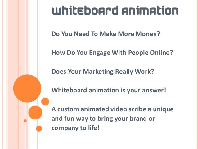 WHITEBOARD ANIMATIONDo You Need To Make More Money?How Do You Engage With People Online?Does Your Marketing Really Work?Wh...