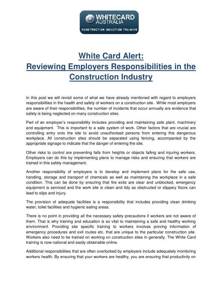White Card Alert:Reviewing Employers Responsibilities in the          Construction IndustryIn this post we will revisit so...