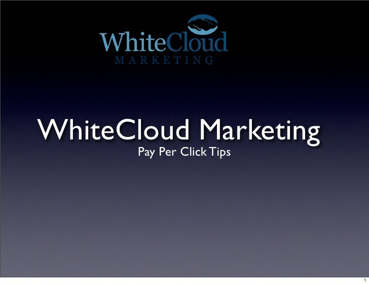 WhiteCloud Marketing        Pay Per Click Tips                                 1