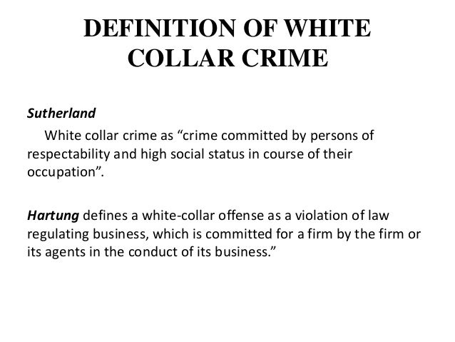 regulatory regimes for white collar crime One of the biggest developments in 2011 in the white collar and regulatory enforcement area came at the very of organized crime and other non-white collar crimes.