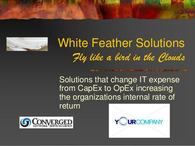 White Feather Solutions  Fly like a bird in the CloudsSolutions that change IT expensefrom CapEx to OpEx increasingthe org...