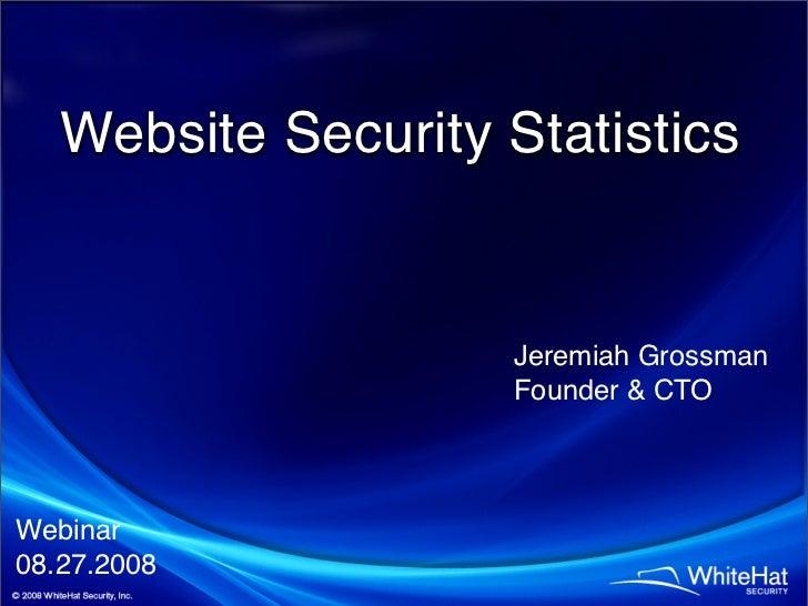 Website Security Statistics                        Jeremiah Grossman                      Founder  CTO    Webinar 08.27.20...