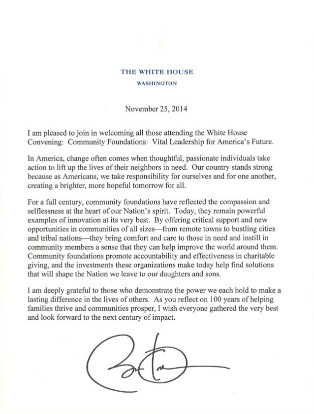 THE WHITE HOUSE  WASHINGTON  November 25, 2014  I am pleased to join in welcoming all those attending the White House Conv...