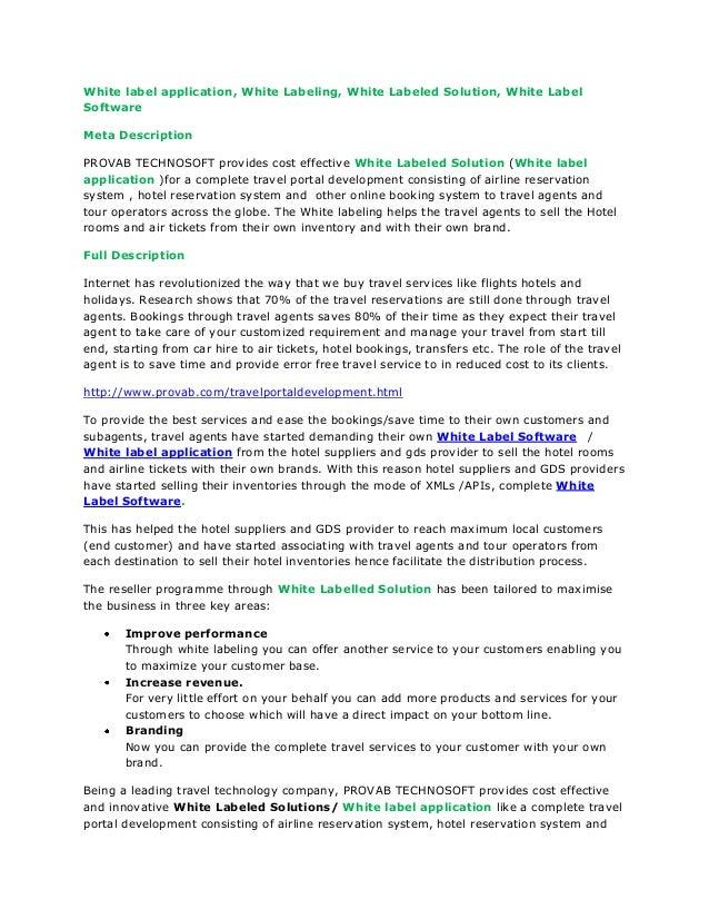 White label application, White Labeling, White Labeled Solution, White LabelSoftwareMeta DescriptionPROVAB TECHNOSOFT prov...