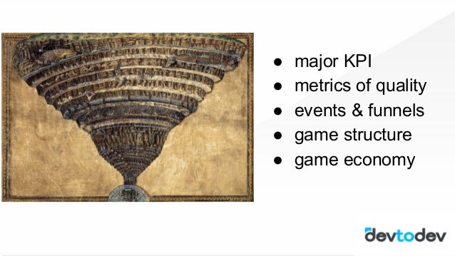 1. major KPI 2. metrics of quality 3. events & funnels 4. game structure 5. game economy