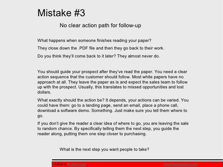Top Mistakes In Writing A White Paper