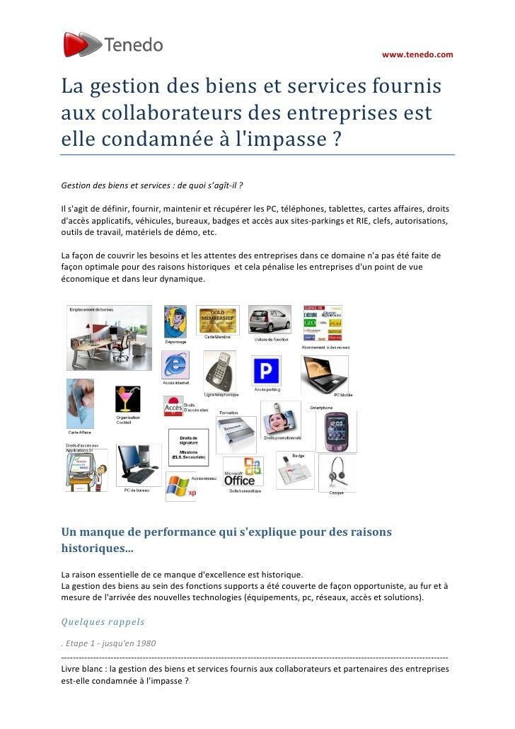 www.tenedo.comLa gestion des biens et services fournisaux collaborateurs des entreprises estelle condamnée à limpasse ?Ges...