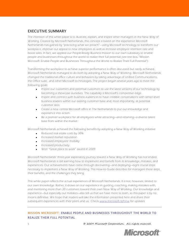 1234567891 Microsoft Way Redmond: Whitepaper A New Way Of Working For Microsoft Netherlands