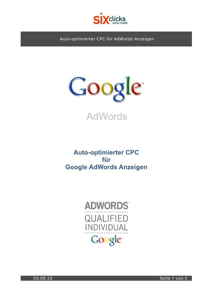 Auto-optimierter CPC für AdWords Anzeigen                           AdWords                  Auto-optimierter CPC         ...