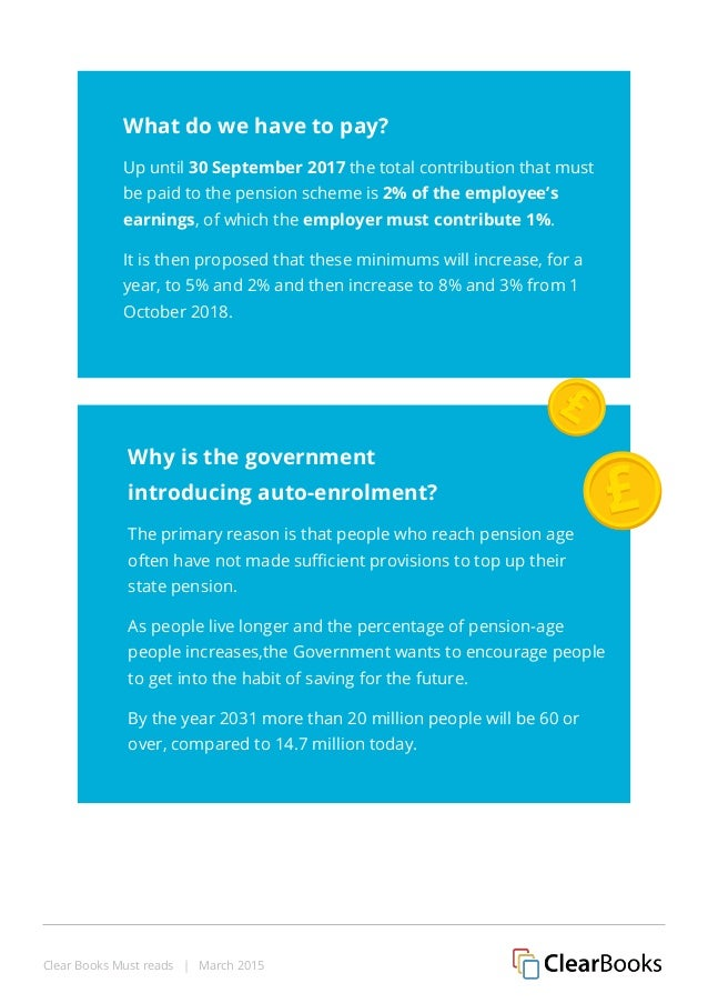 Clear Books Must reads | March 2015 Why is the government introducing auto-enrolment? The primary reason is that people wh...