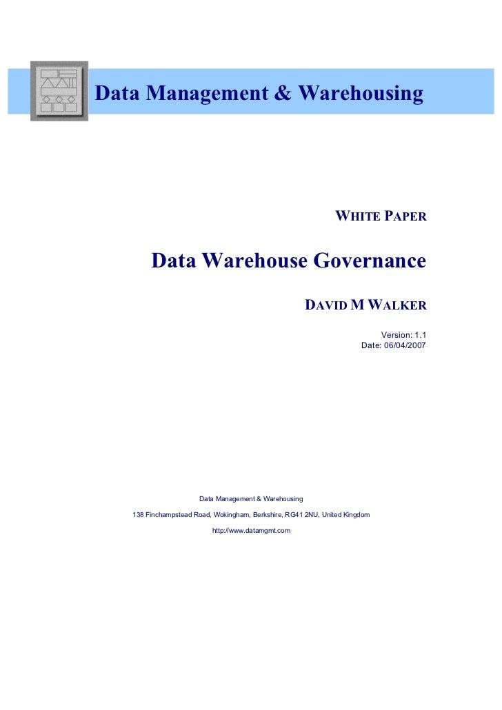 Data Management & Warehousing                                                              WHITE PAPER        Data Warehou...