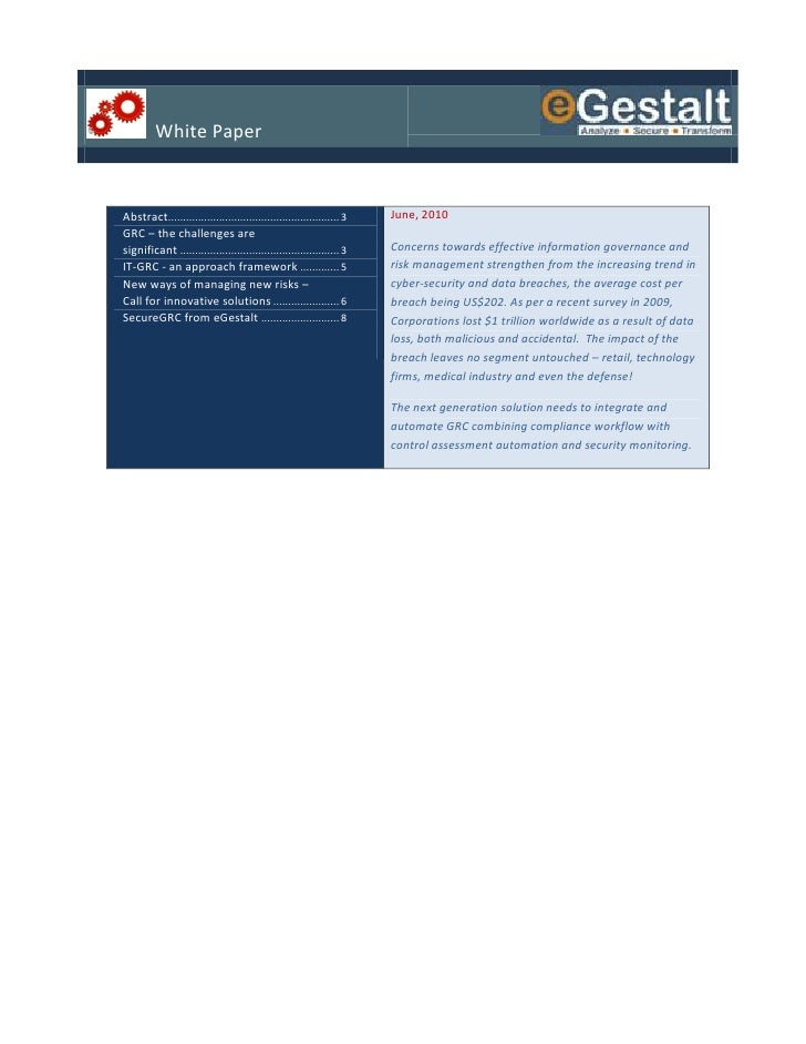 White Paper   Abstract......................................................... 3   June, 2010 GRC – the challenges are si...