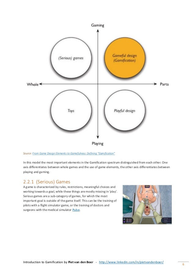 Introduction to Gamification by Piet van den Boer - http://www.linkedin.com/in/pietvandenboer/ 6 Source: From Game Design ...