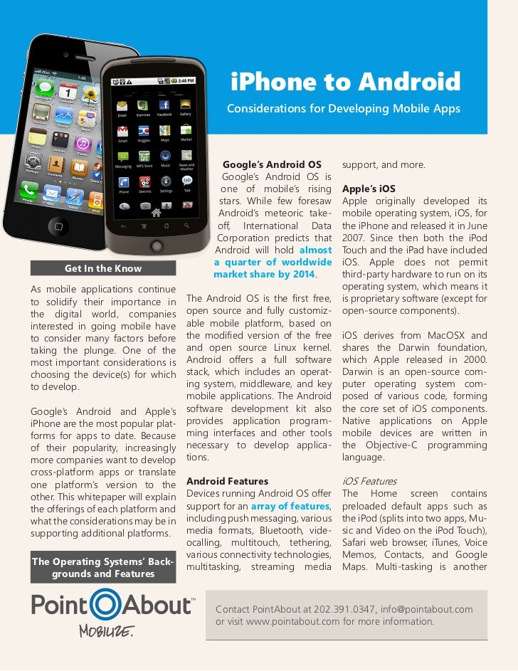 iPhone to Android                                               Considerations for Developing Mobile Apps                 ...