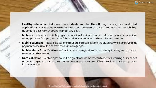 Whitepaper Mobile Solutions For The Education Industry