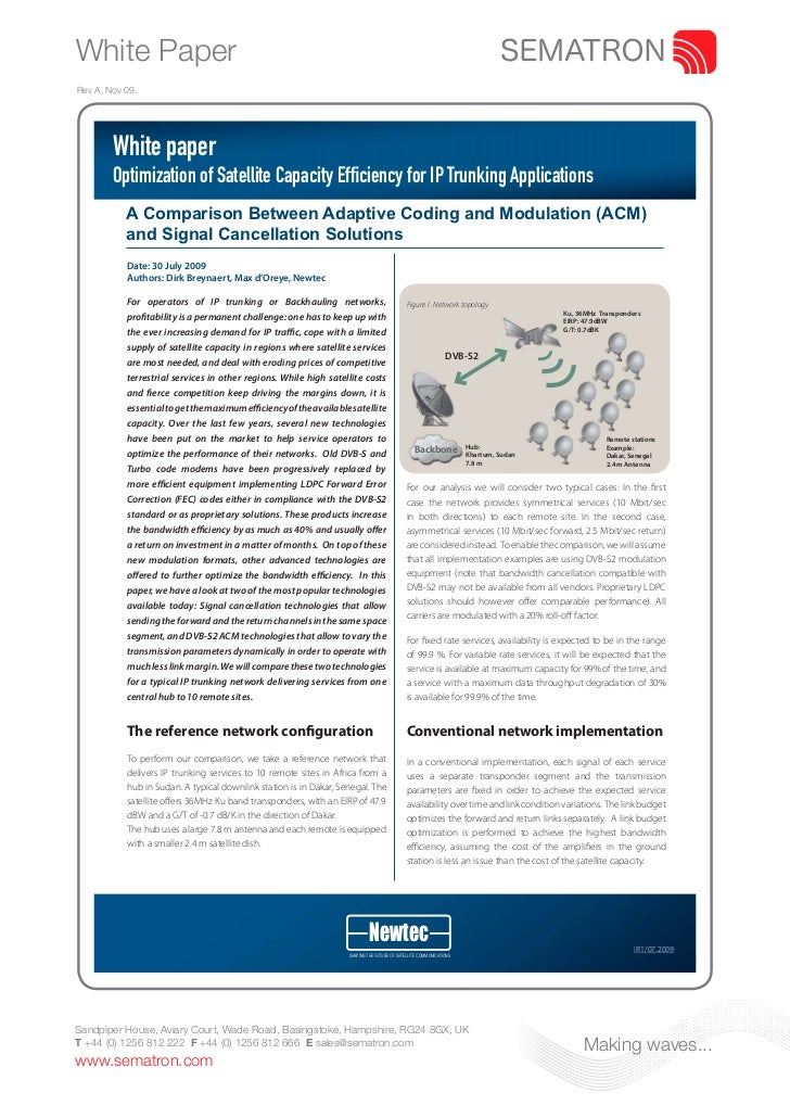 White PaperRev A. Nov 09.        White paper        Optimization of Satellite Capacity Efficiency for IP Trunking Applicat...