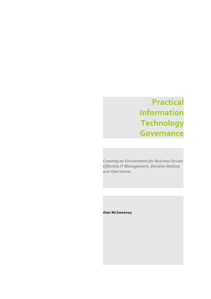 Practical                    Information                    Technology                    Governance   Creating an Environ...