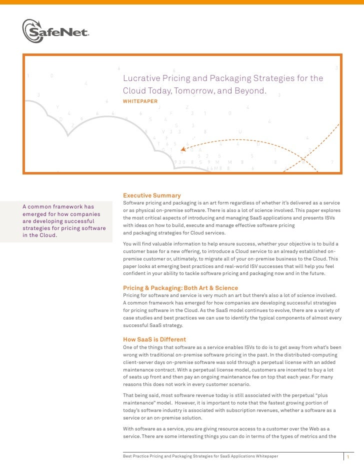 Lucrative Pricing and Packaging Strategies for the                                  Cloud Today, Tomorrow, and Beyond.    ...