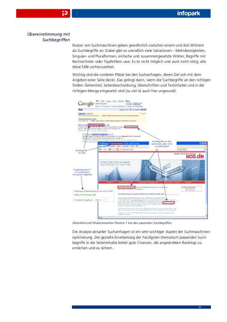 Übereinstimmung mit       Suchbegriffen                       Nutzer von Suchmaschinen geben gewöhnlich zwischen einem und...