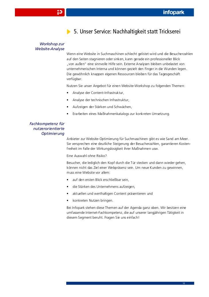 5. Unser Service: Nachhaltigkeit statt Trickserei    Workshop zur   Website-Analyse                      Wenn eine Website...