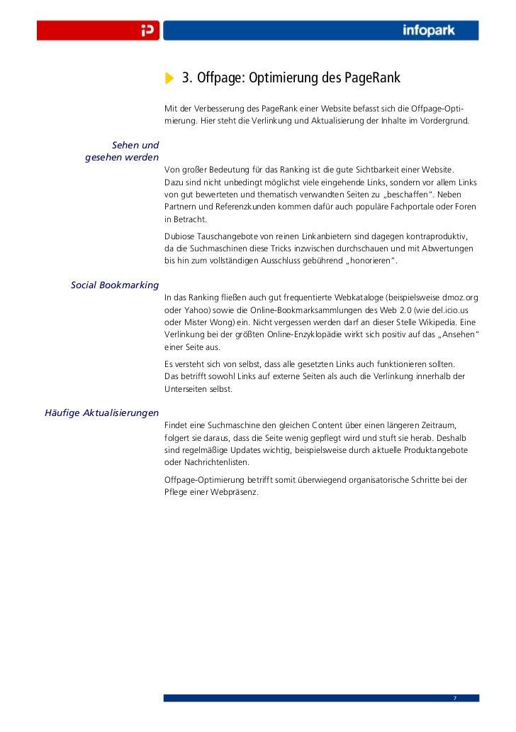 3. Offpage: Optimierung des PageRank                          Mit der Verbesserung des PageRank einer Website befasst sich...