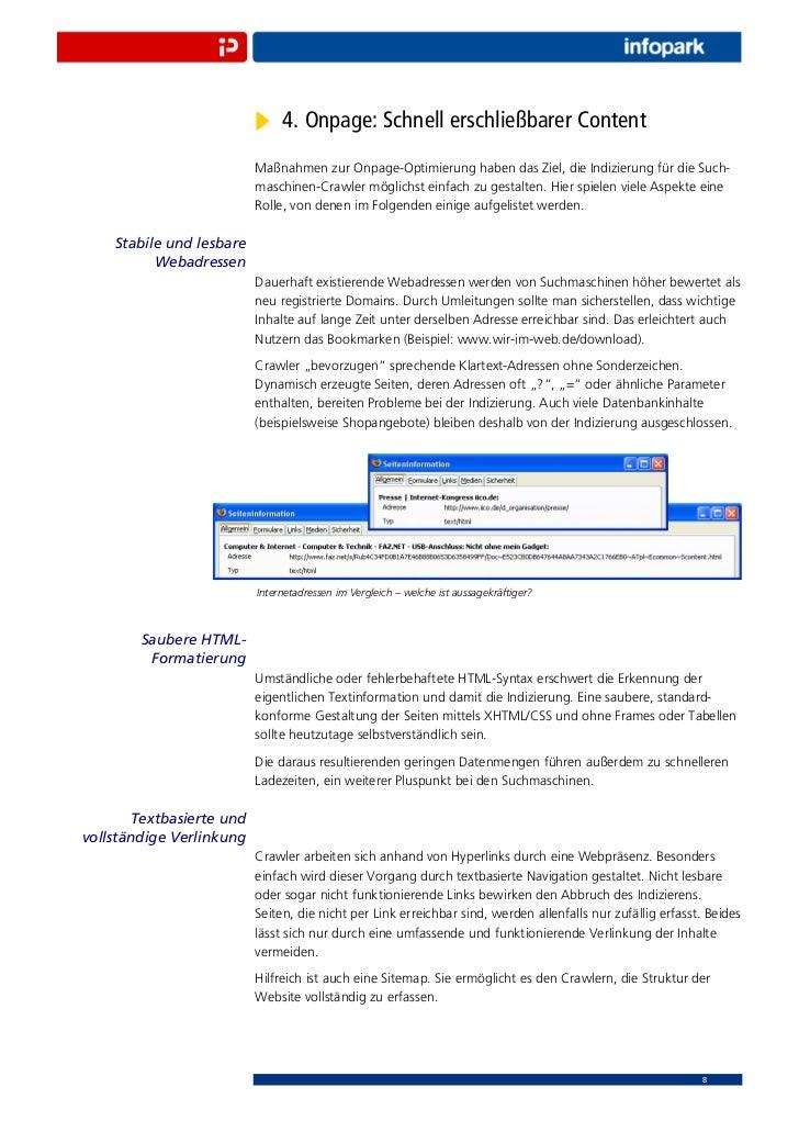4. Onpage: Schnell erschließbarer Content                          Maßnahmen zur Onpage-Optimierung haben das Ziel, die In...