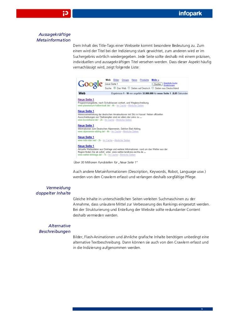 AussagekräftigeMetainformation                    Dem Inhalt des Title-Tags einer Webseite kommt besondere Bedeutung zu. Z...