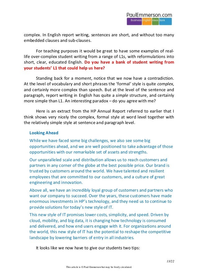 English language report writing