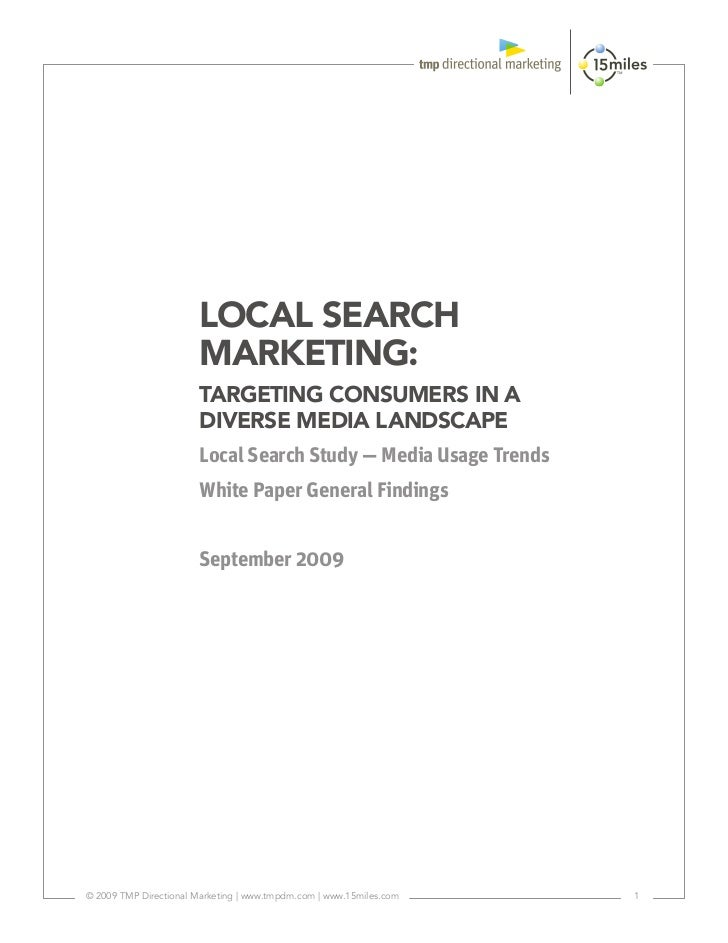 LOCAL SEARCH                       MARKETING:                       TARGETING CONSUMERS IN A                       DIVERSE...