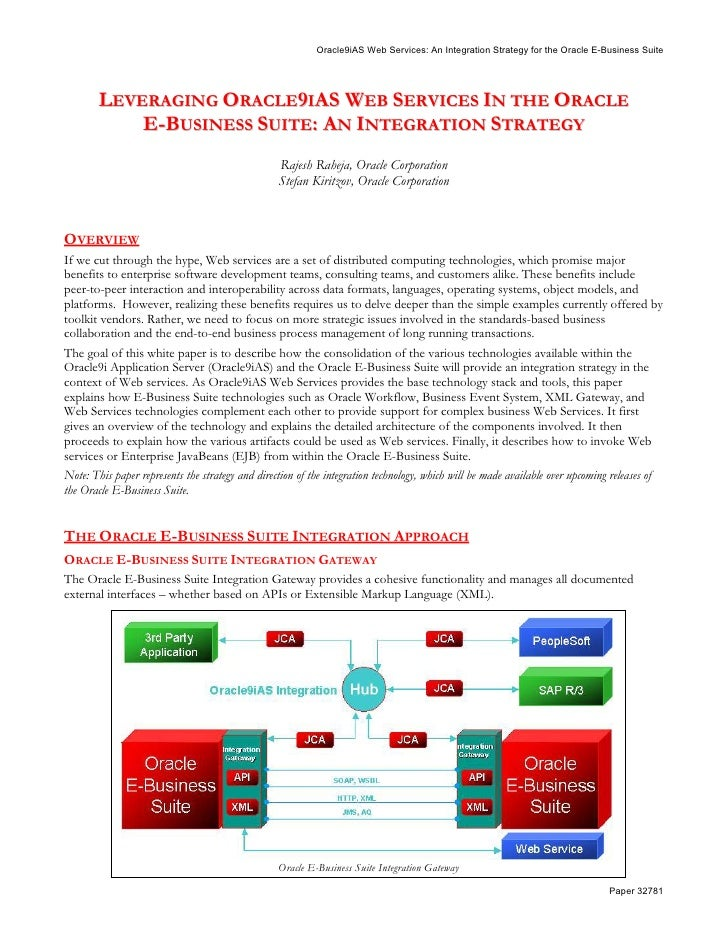 Oracle9iAS Web Services: An Integration Strategy for the Oracle E-Business Suite             LEVERAGING ORACLE9IAS WEB SER...