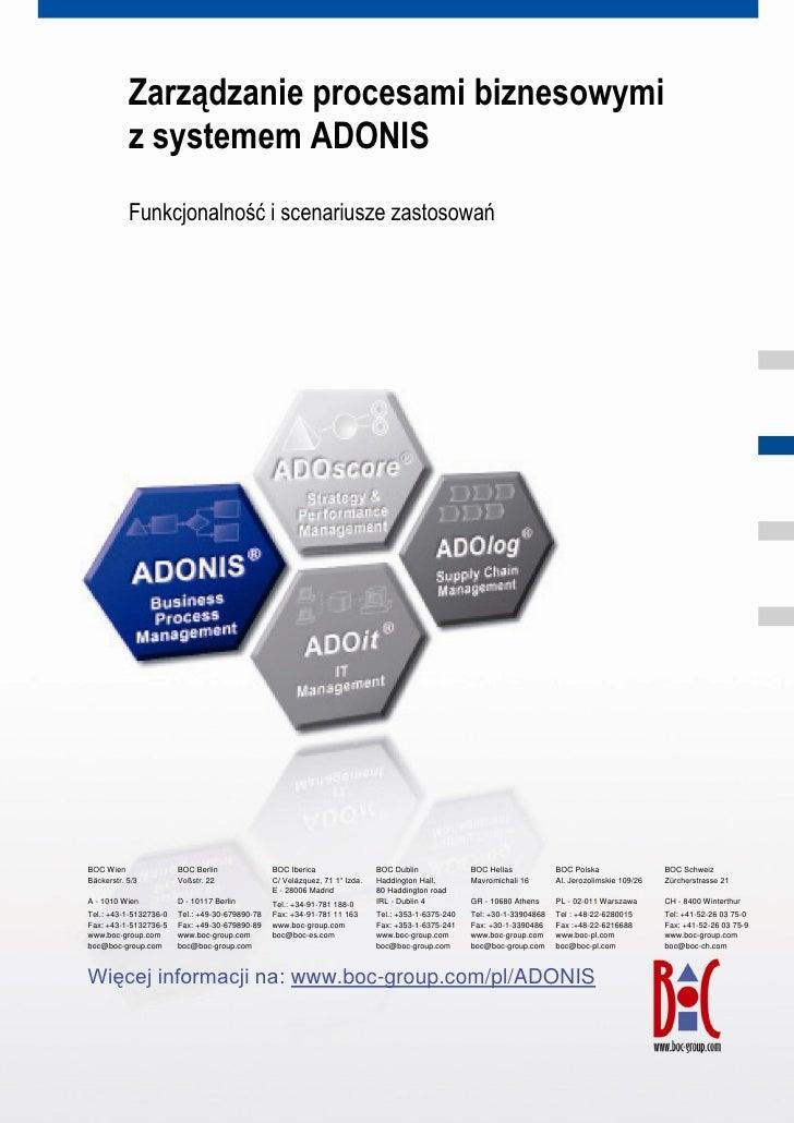 Zarządzanie procesami biznesowymi               z systemem ADONIS               Funkcjonalność i scenariusze zastosowań   ...