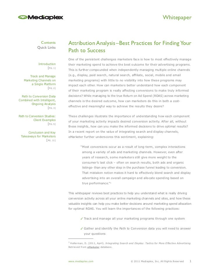Whitepaper               Contents        Attribution Analysis–Best Practices for Finding Your              Quick Links    ...