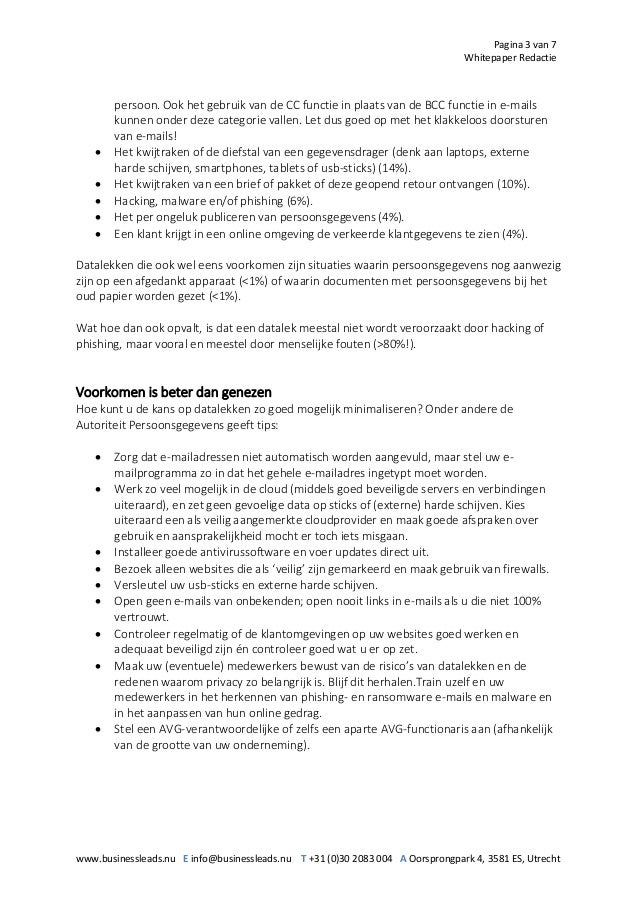 Pagina 3 van 7 Whitepaper Redactie www.businessleads.nu E info@businessleads.nu T +31 (0)30 2083 004 A Oorsprongpark 4, 35...