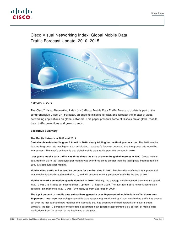 White Paper                        Cisco Visual Networking Index: Global Mobile Data                        Traffic Foreca...