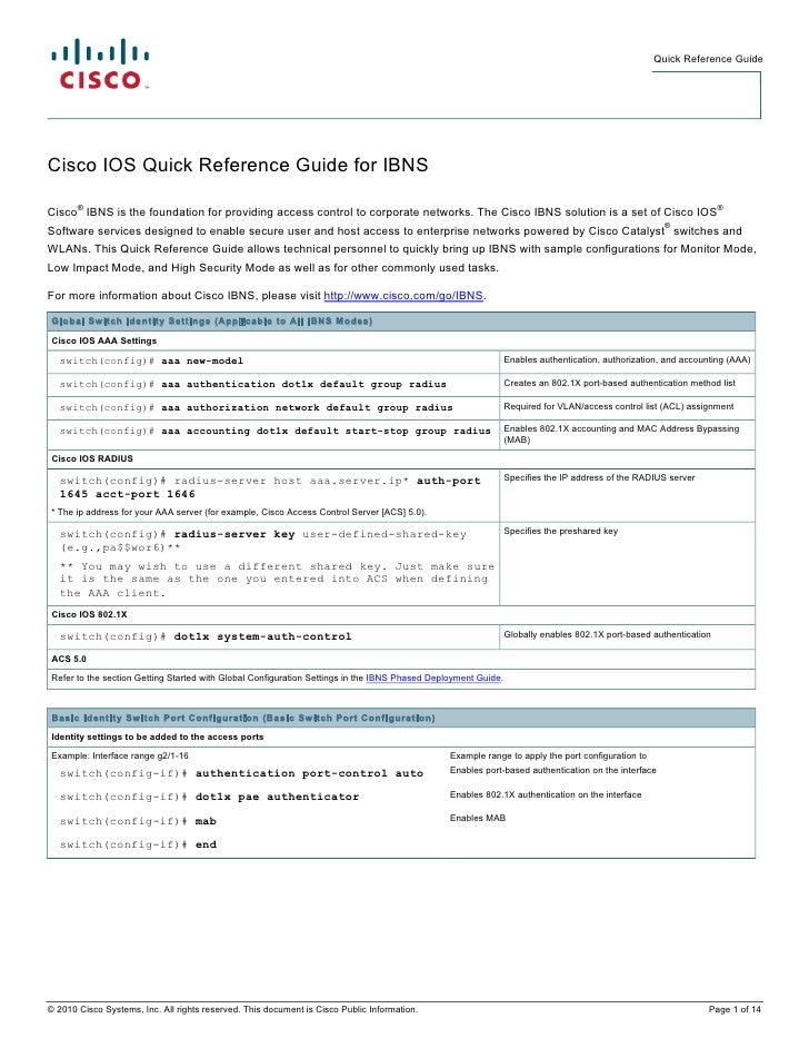 Quick Reference GuideCisco IOS Quick Reference Guide for IBNS       ®                                                     ...
