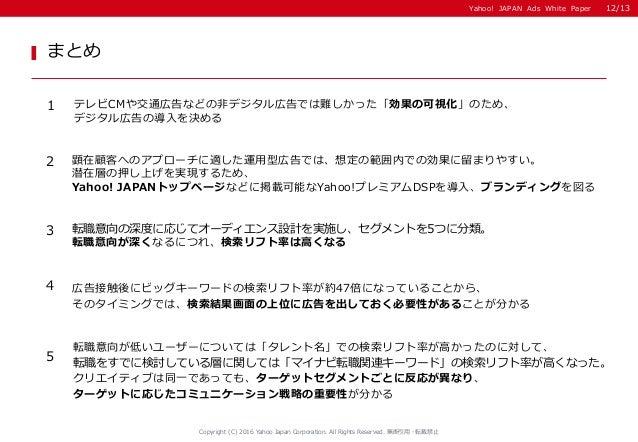 Yahoo! JAPAN Ads White Paper まとめ Copyright (C) 2016 Yahoo Japan Corporation. All Rights Reserved. 無断引用・転載禁止 1 テレビCMや交通広告など...