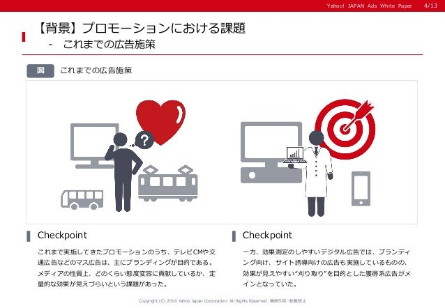Yahoo! JAPAN Ads White PaperYahoo! JAPAN Ads White Paper これまでの広告施策図 これまで実施してきたプロモーションのうち、テレビCMや交 通広告などのマス広告は、主にブランディングが目的で...