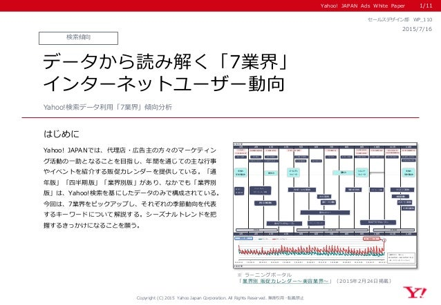 Yahoo! JAPAN Ads White Paper はじめに Copyright (C) 2015 Yahoo Japan Corporation. All Rights Reserved. 無断引用・転載禁止 Yahoo! JAPANで...