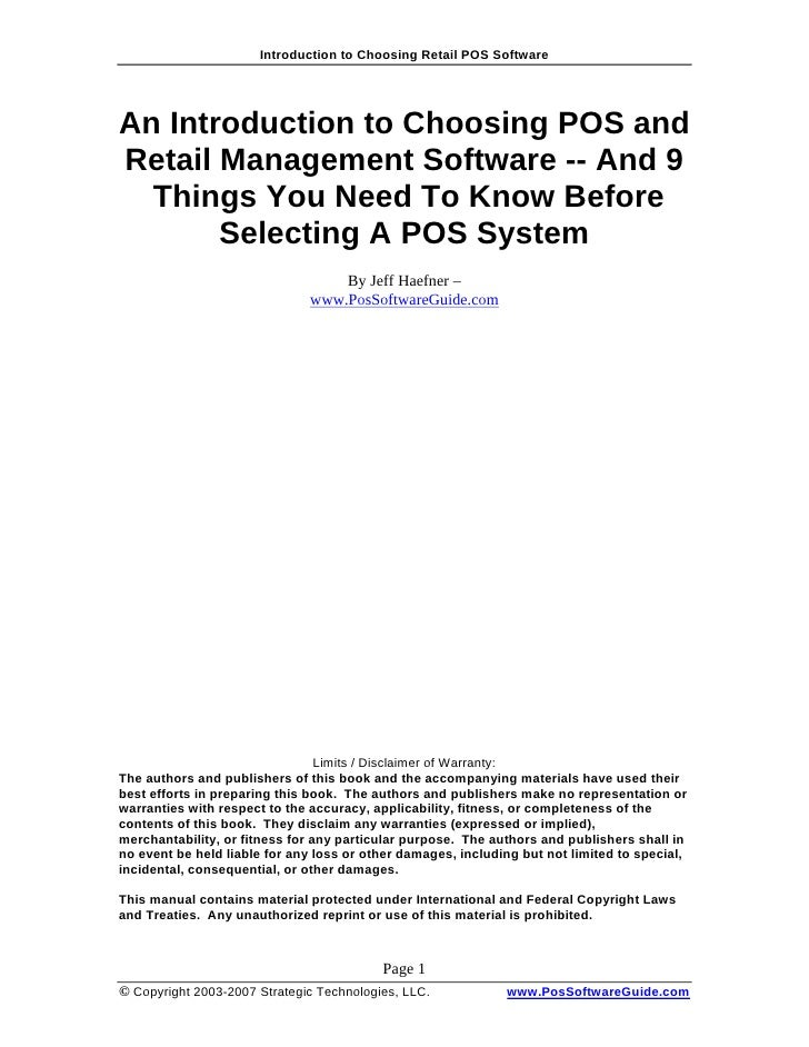 Introduction to Choosing Retail POS Software     An Introduction to Choosing POS and Retail Management Software -- And 9  ...