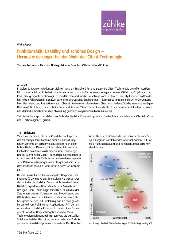 White PaperFunktionalität, Usability und schönes Design –Herausforderungen bei der Wahl der Client-TechnologieThomas Memme...