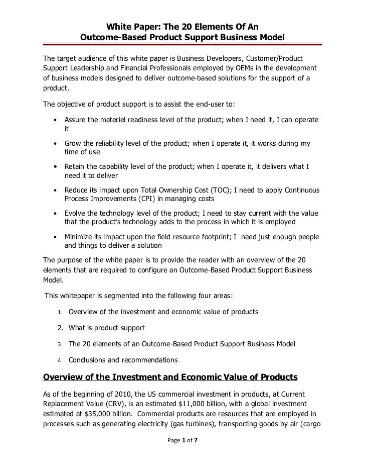 White Paper: The 20 Elements Of An               Outcome-Based Product Support Business Model  The target audience of this...