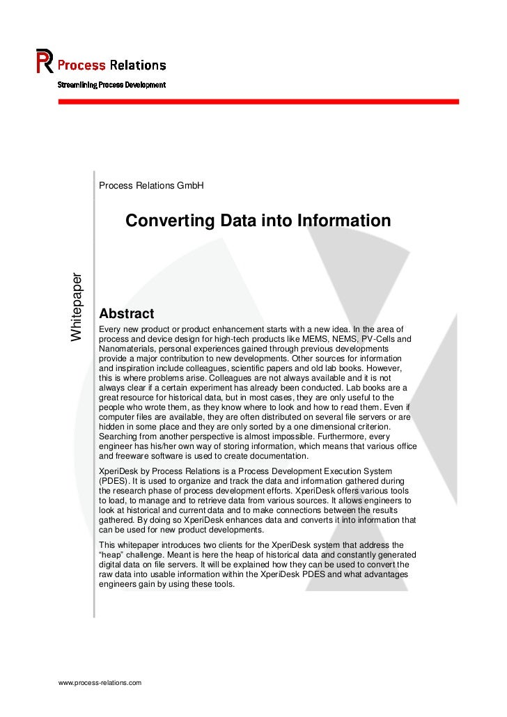 Process Relations GmbH                       Converting Data into Information   Whitepaper                Abstract        ...