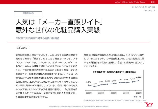 Yahoo! JAPAN Ads White Paper はじめに Copyright (C) 2015 Yahoo Japan Corporation. All Rights Reserved. 無断引用・転載禁止 業界別動向 2015/1/...