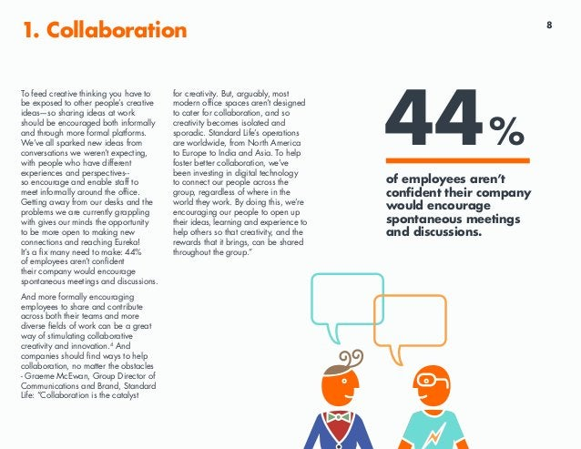 8 1. Collaboration To feed creative thinking you have to be exposed to other people's creative ideas—so sharing ideas at w...