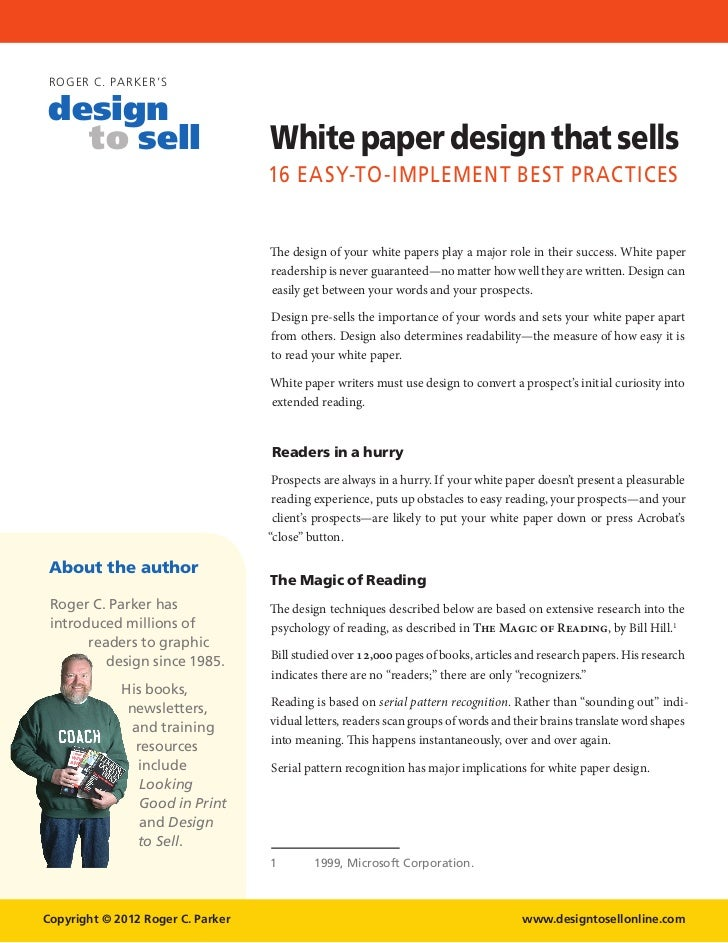 Delightful ROGER C. PARK ERu0027Sdesign To Sell White Paper ... Regard To Microsoft White Paper Template