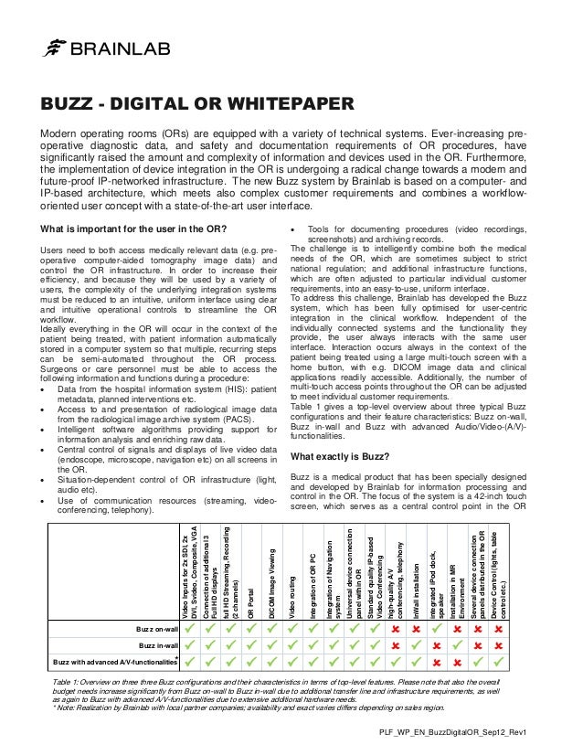 BUZZ - DIGITAL OR WHITEPAPER Modern operating rooms (ORs) are equipped with a variety of technical systems. Ever-increasin...