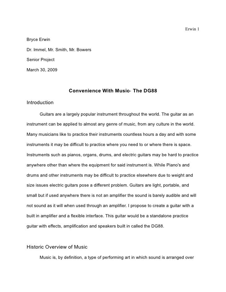 Erwin 1  Bryce Erwin  Dr. Immel, Mr. Smith, Mr. Bowers  Senior Project  March 30, 2009                          Convenienc...
