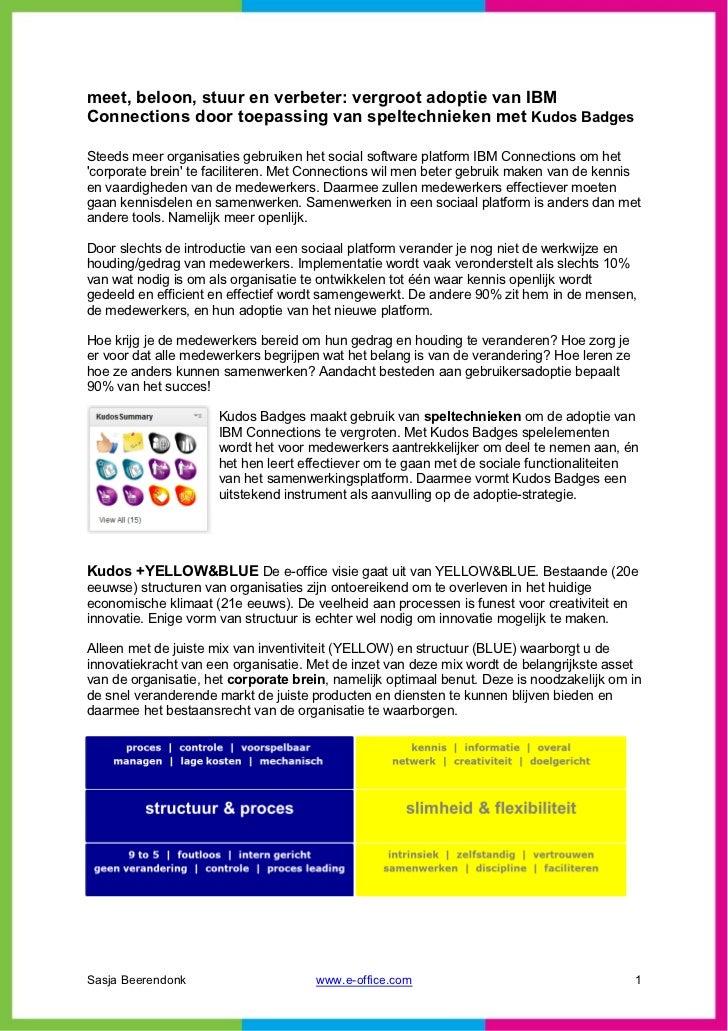meet, beloon, stuur en verbeter: vergroot adoptie van IBMConnections door toepassing van speltechnieken met Kudos BadgesSt...