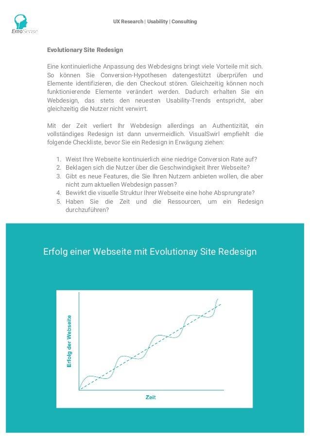 UX Research | Usability | Consulting    www.emosense.de Evolutionary Site Redesign Eine kontinuierliche Anpassung des We...