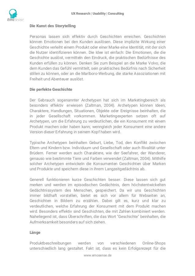 UX Research | Usability | Consulting    www.emosense.de Die Kunst des Storytelling Personas lassen sich effektiv durch G...